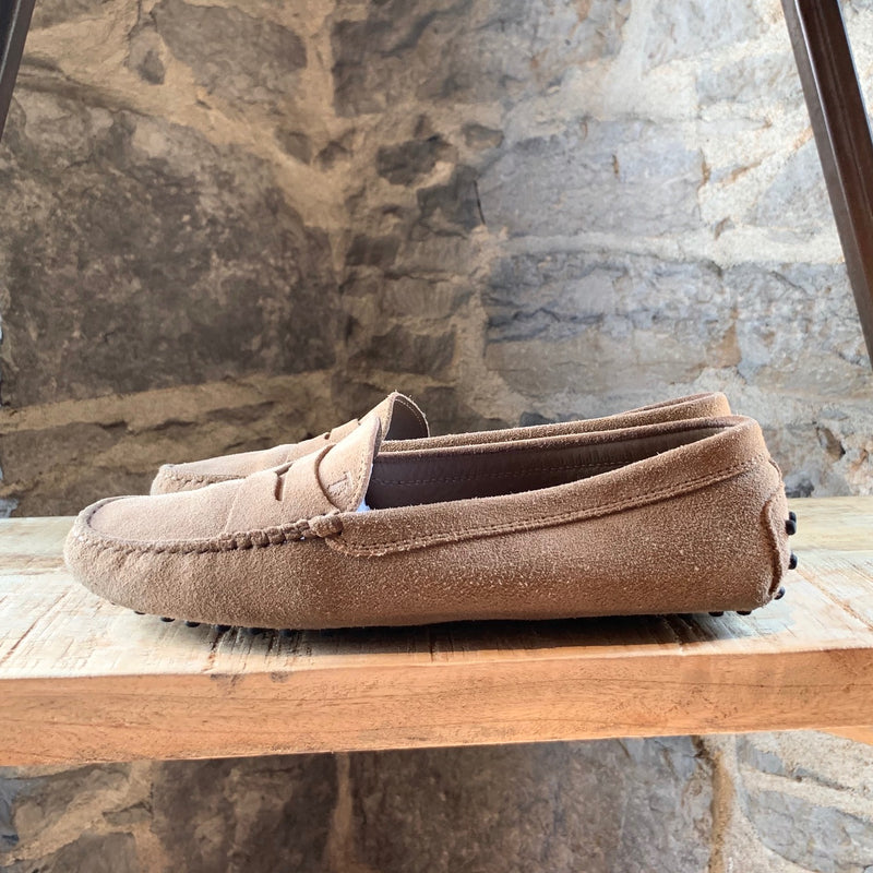 Tod's Beige Suede Driving Penny Loafers