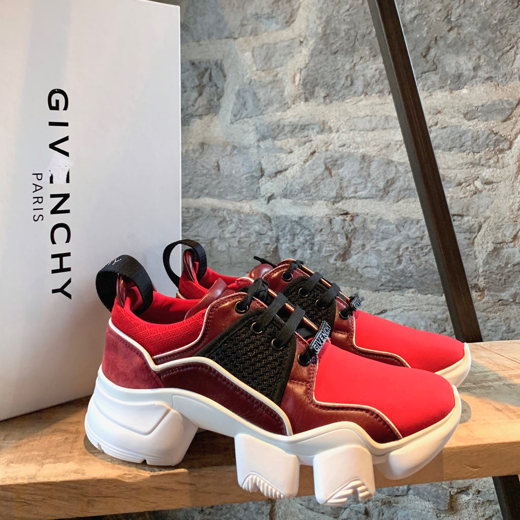 Givenchy Baisse Jaw Neoprene Split Wine Suede Sneakers