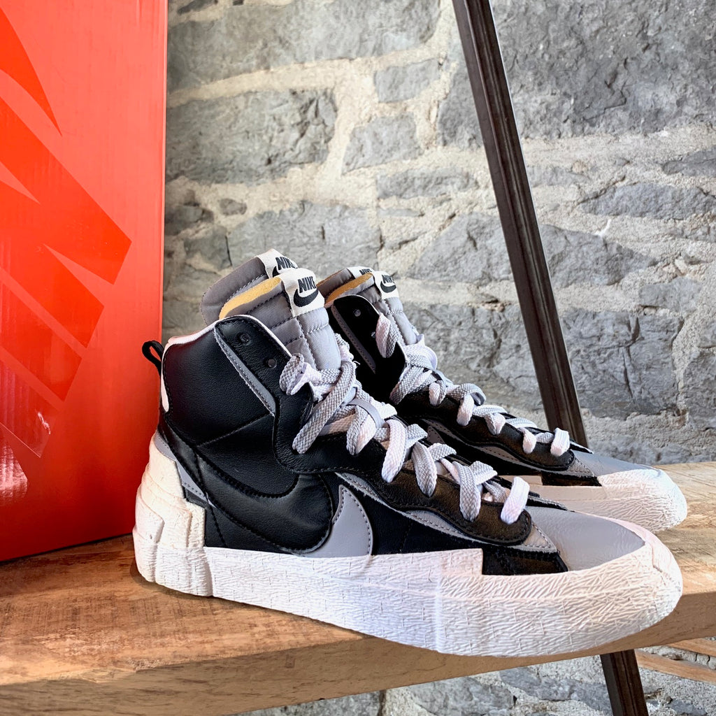 Nike X Sacai Black Wolf Grey Blazer Mid-Top Sneakers