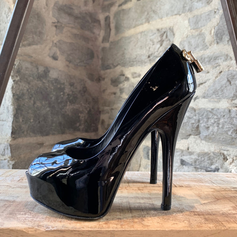 Louis Vuitton Black Patent Oh Really Peep-Toe Platform Heels