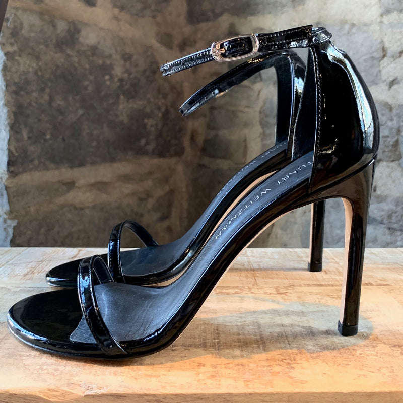 Stuart Weitzman Black Patent Leather Nudistsong Sandals