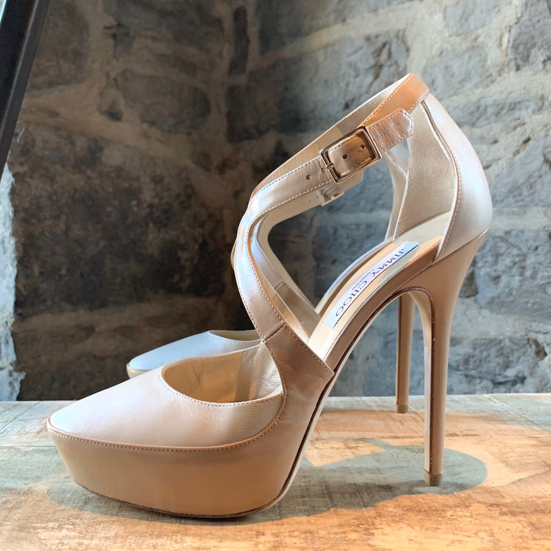 Jimmy Choo Ivory Nude Leather Tulip Platform Pumps