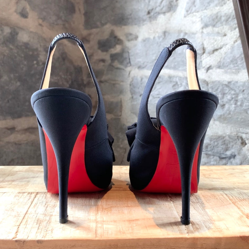 Christian Louboutin Black Crepe Miss Chacha 120 Pumps
