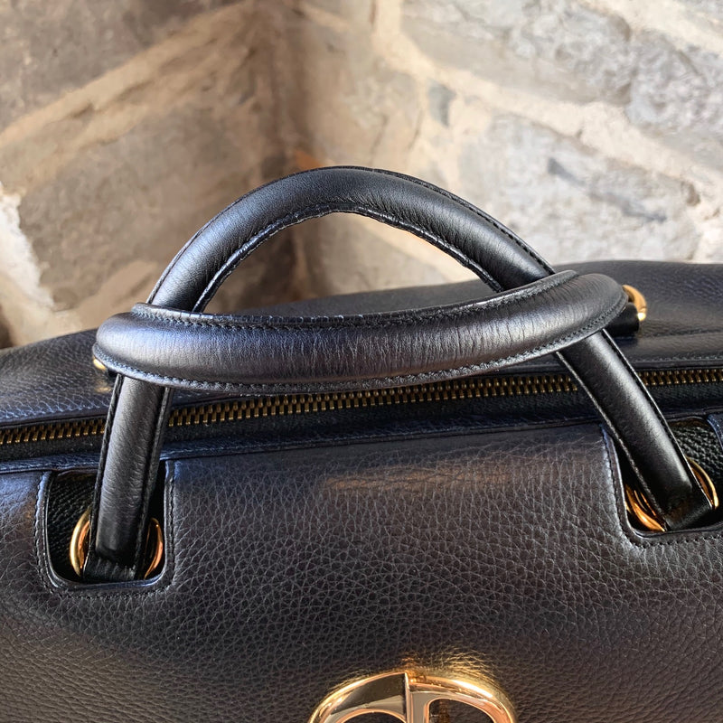 Gucci Black Grained Leather 1973 Medium Top Handle Bag
