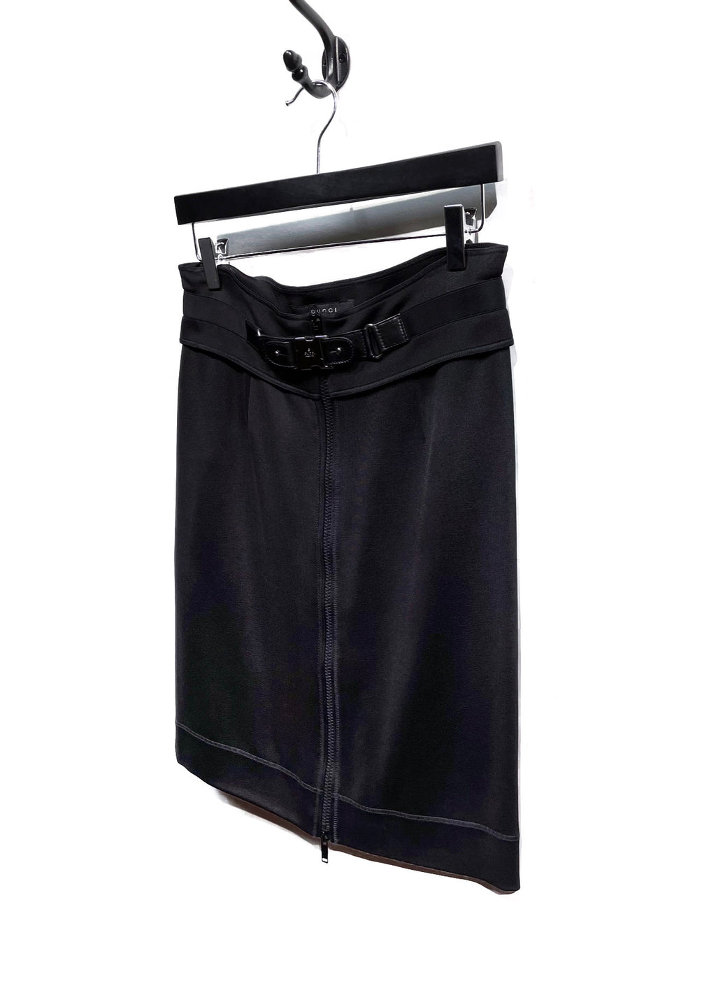 Gucci Black Logo Buckled Zippered Skirt