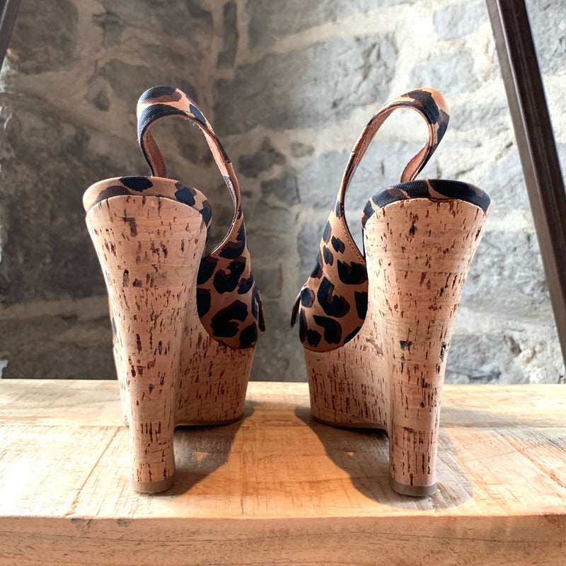 Louis Vuitton Stephen Sprouse Leopard Slingback Cork Wedges