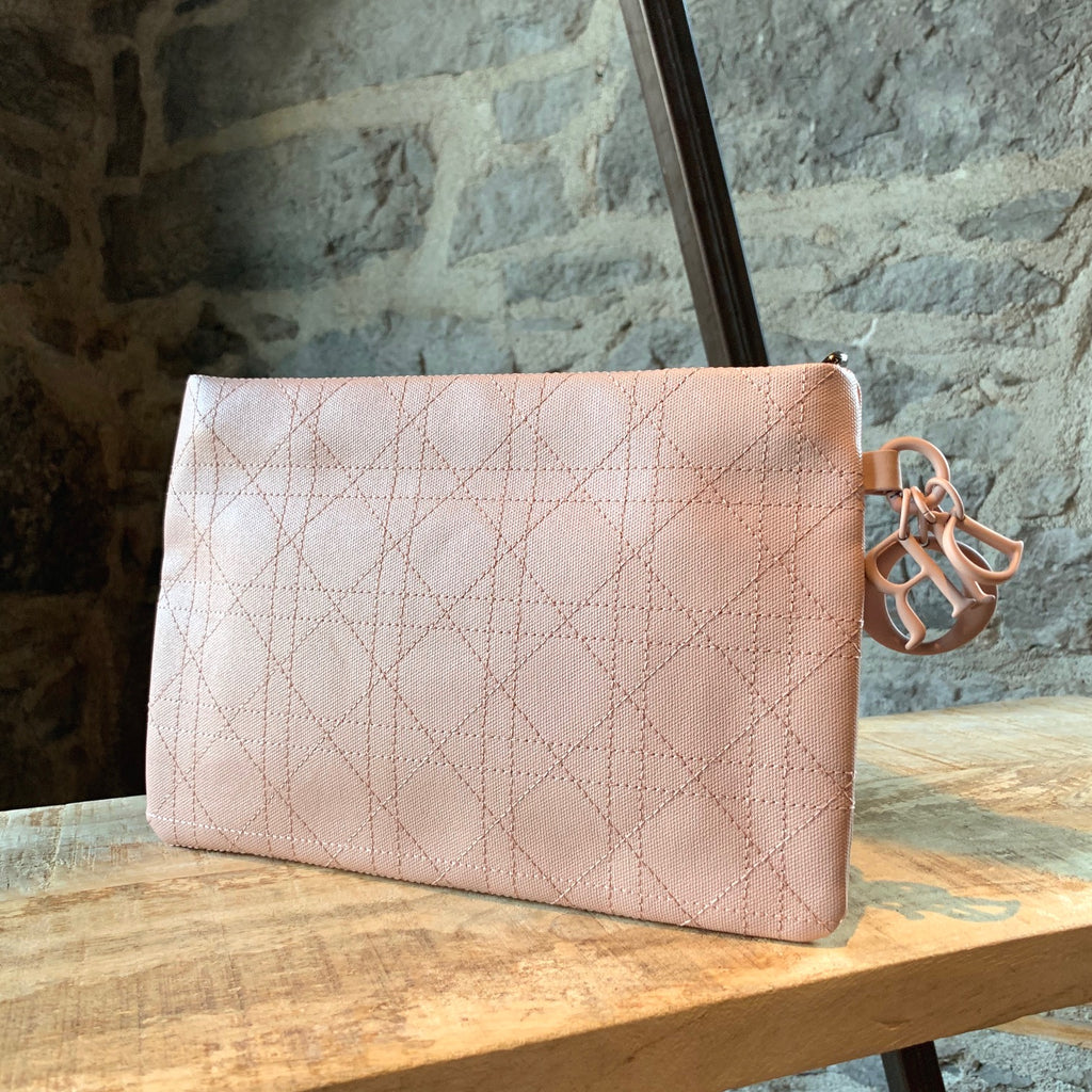 Dior Dusty Pink Panarea Coated Cannage Canvas Pouch