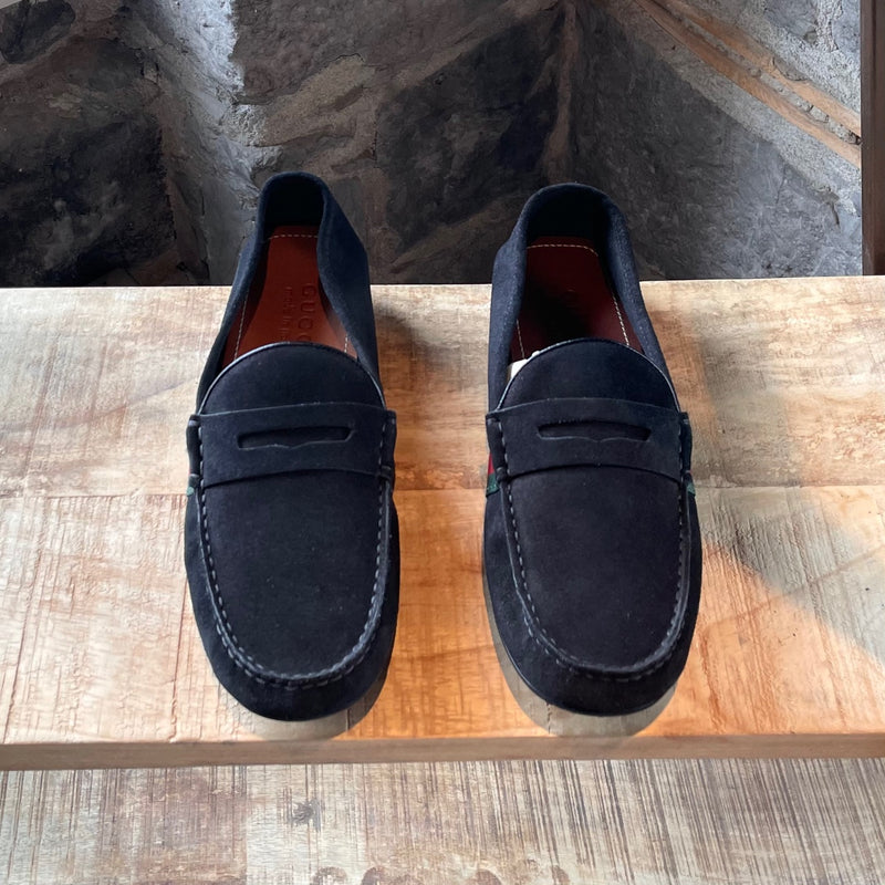 Gucci Black Suede Web Accent Driving Loafers