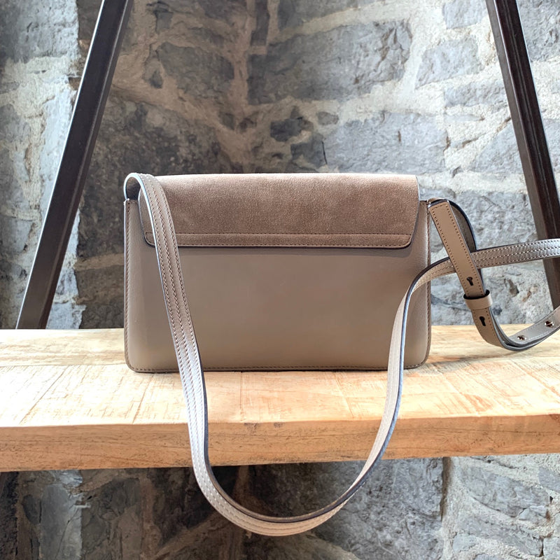 Chloé Light Grey Leather Suede Small Faye Shoulder Bag
