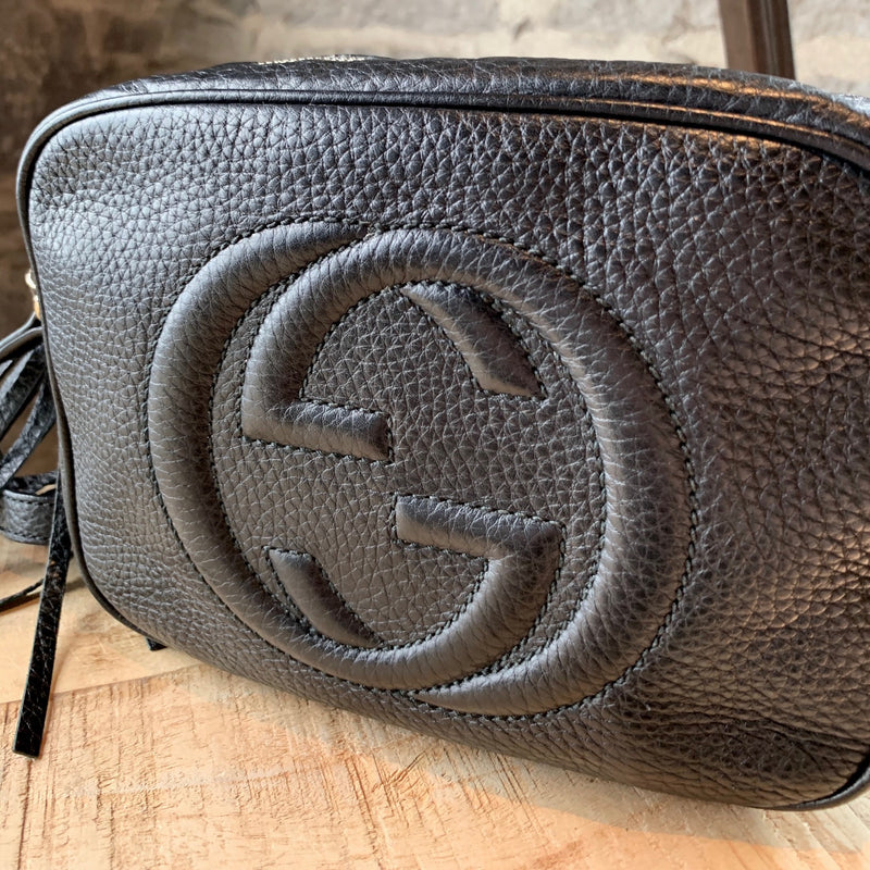 Gucci Black Pebbled Leather Disco Soho Shoulder Bag