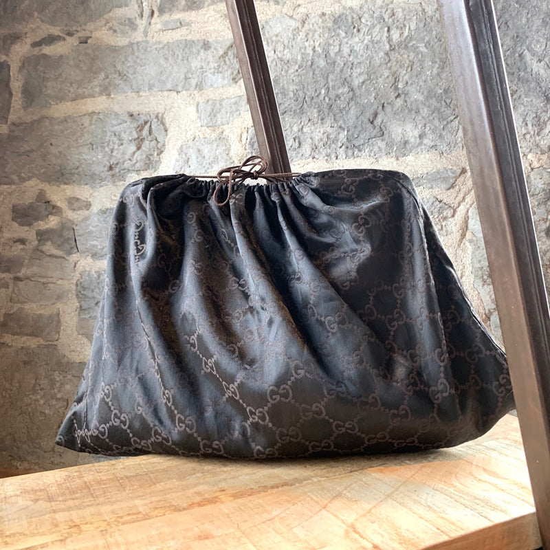 Gucci Black Reins Canvas GG Hobo Bag
