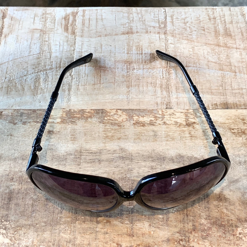 Bottega Veneta BV104S Black Oversized Intrecciato Sunglasses
