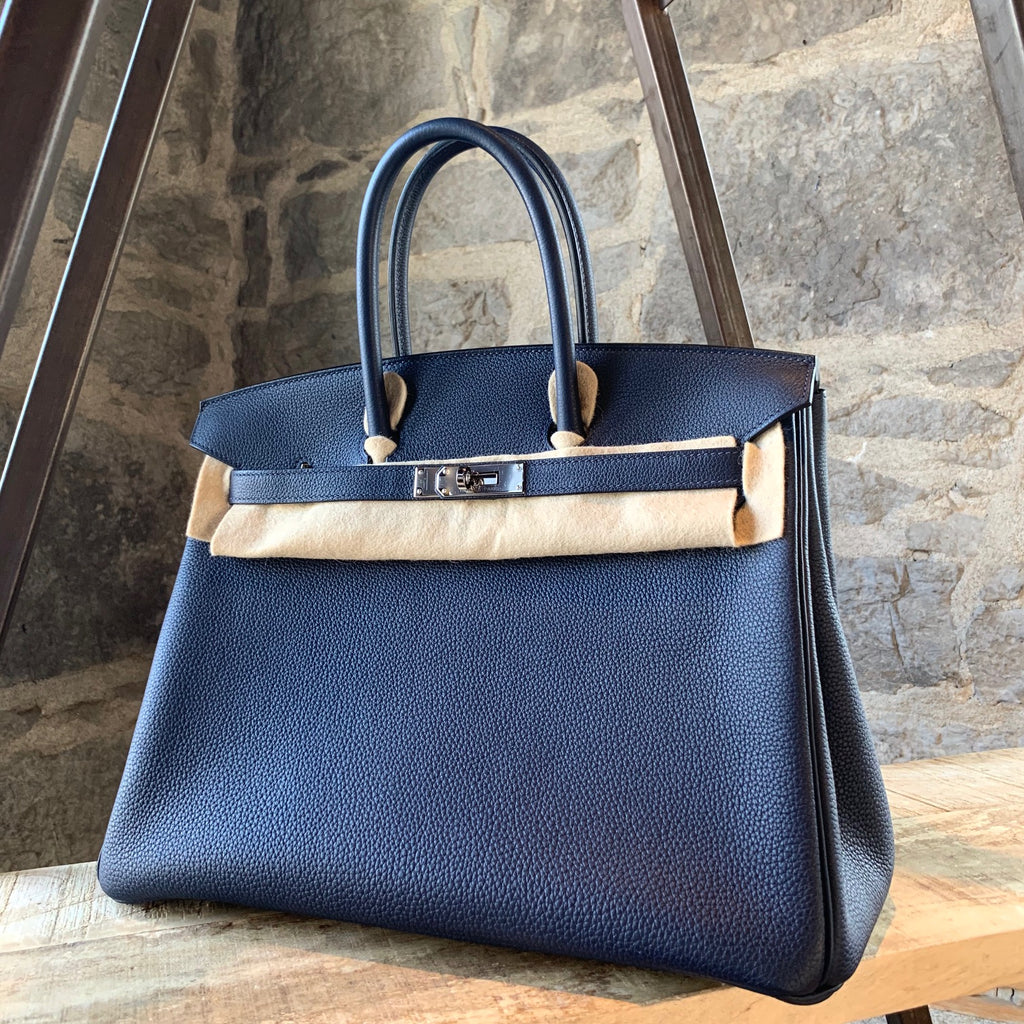 Hermès 2019 Bleu Nuit Togo Leather Birkin 35 Handbag