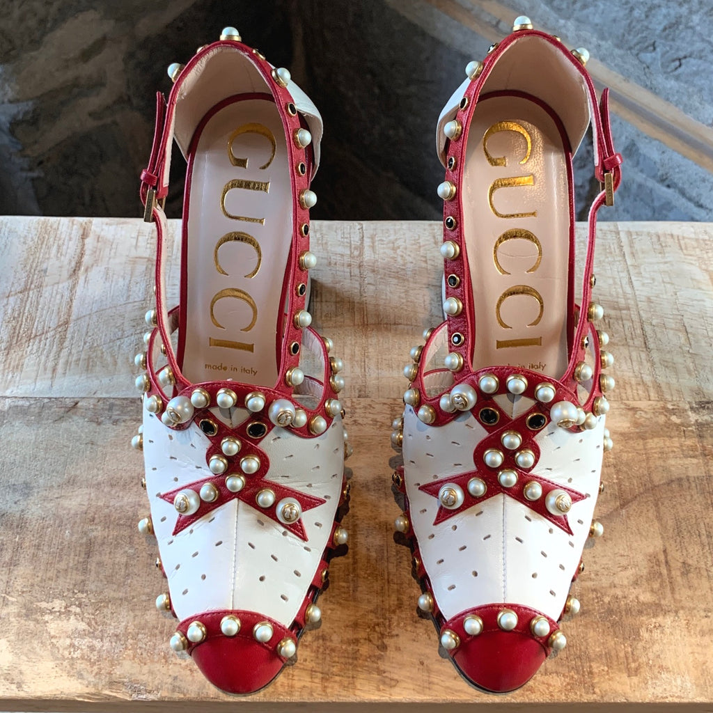 Gucci Red and Ivory Leather Pearls Embellished Tracy 110 Pumps