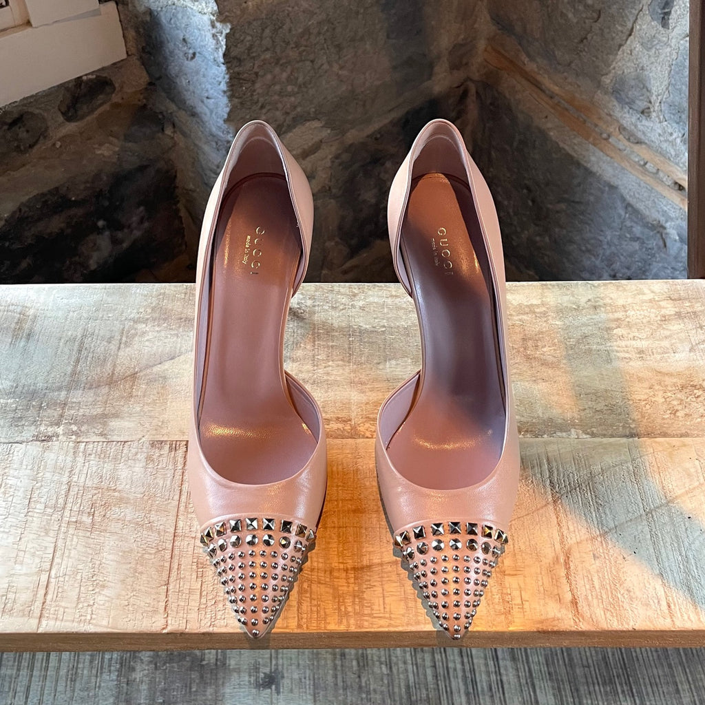 Gucci Studded Half D'orsay Nude Leather Pumps