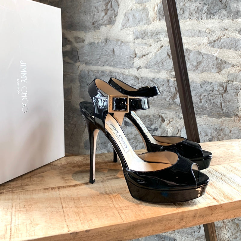 Jimmy Choo Black Patent 247 Linda Platform Sandals