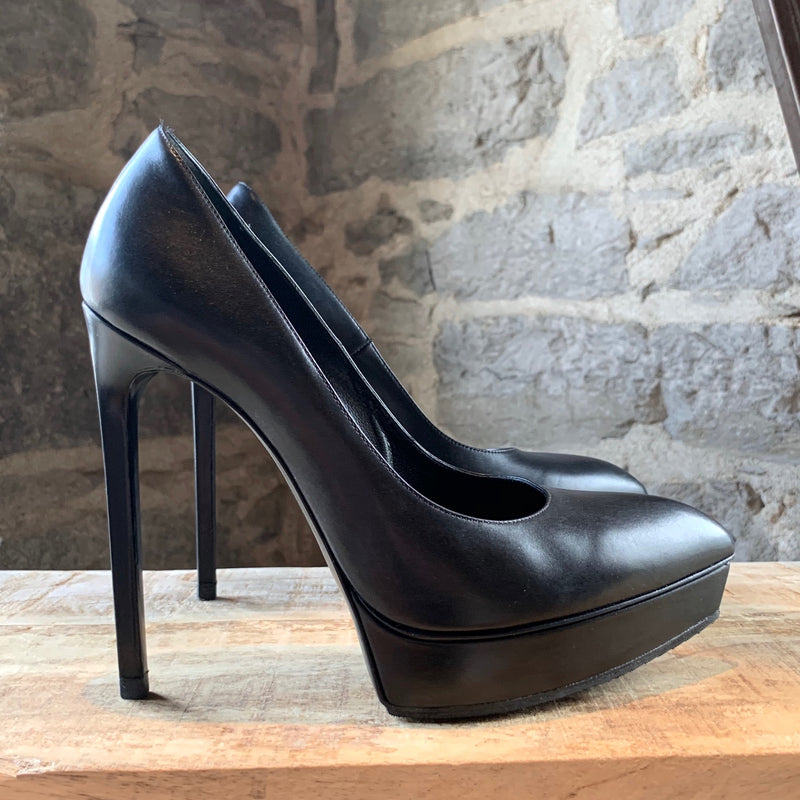Saint Laurent Paris Black Platform Janis Pointy Toe Pumps