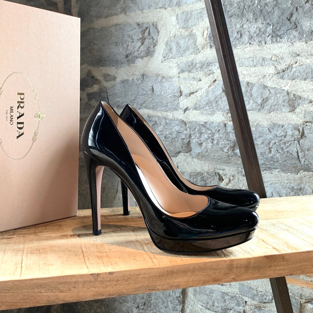 Prada Black Patent Leather Platform Pumps