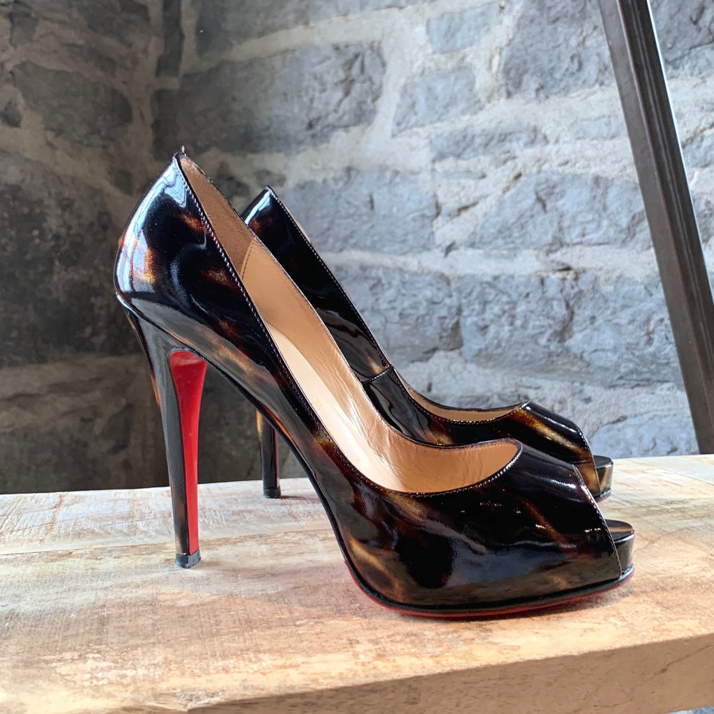 Christian Louboutin Brown Patent Glittart Very Privé Pumps
