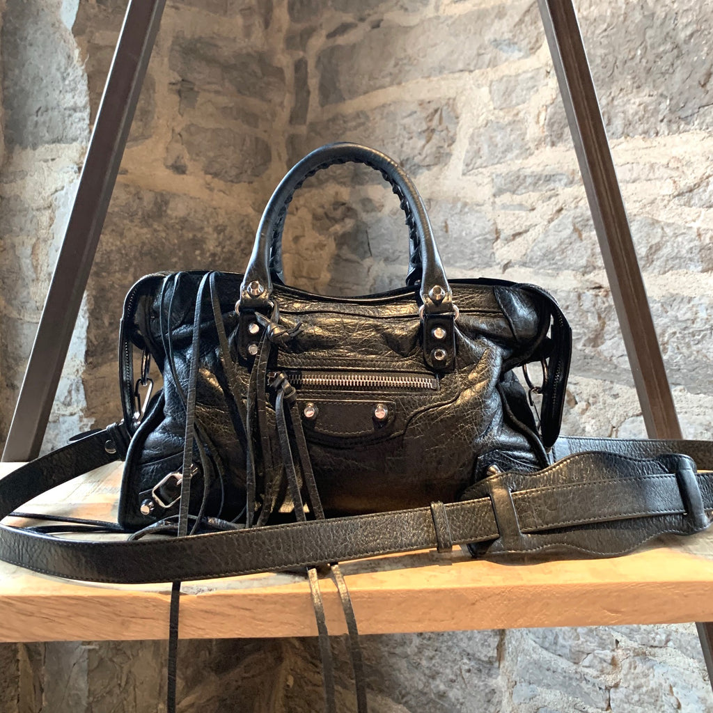 Balenciaga Black Leather Classic Silver City Small Shoulder Bag