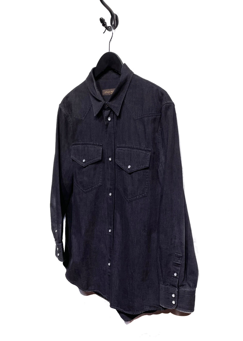 Louis Vuitton Black Denim Western Snapped Shirt
