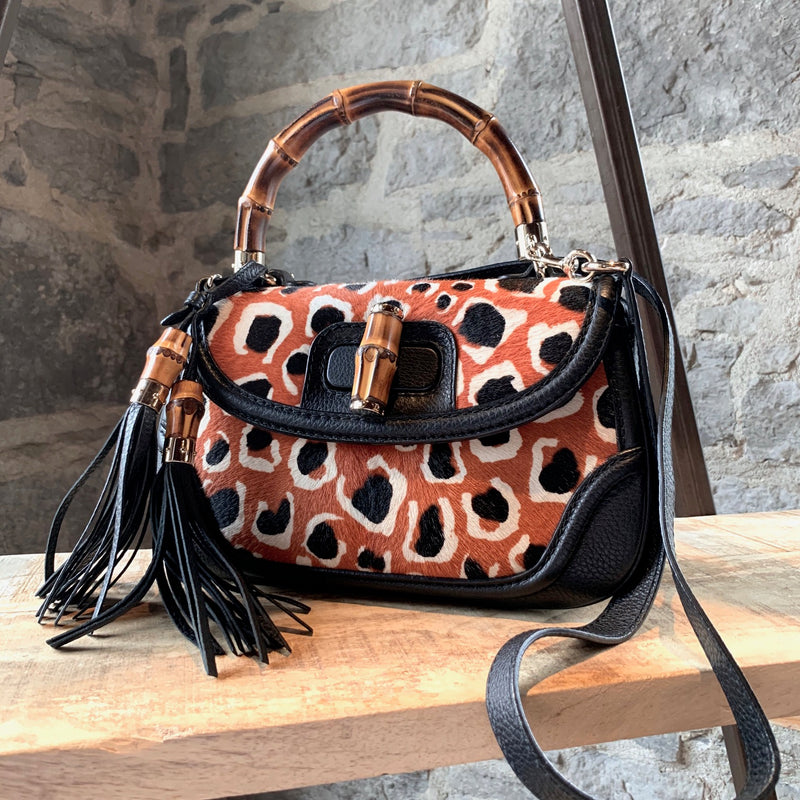 Gucci Leopard Print Pony Hair Orange Black New Bamboo Bag
