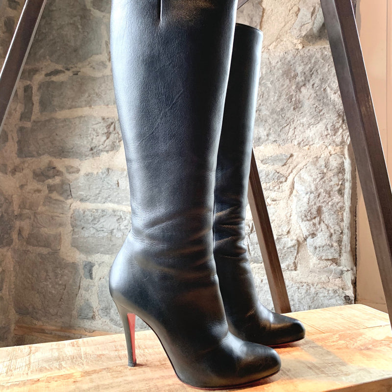 Christian Louboutin Black Leather Simple Botta 100 Heeled Boots