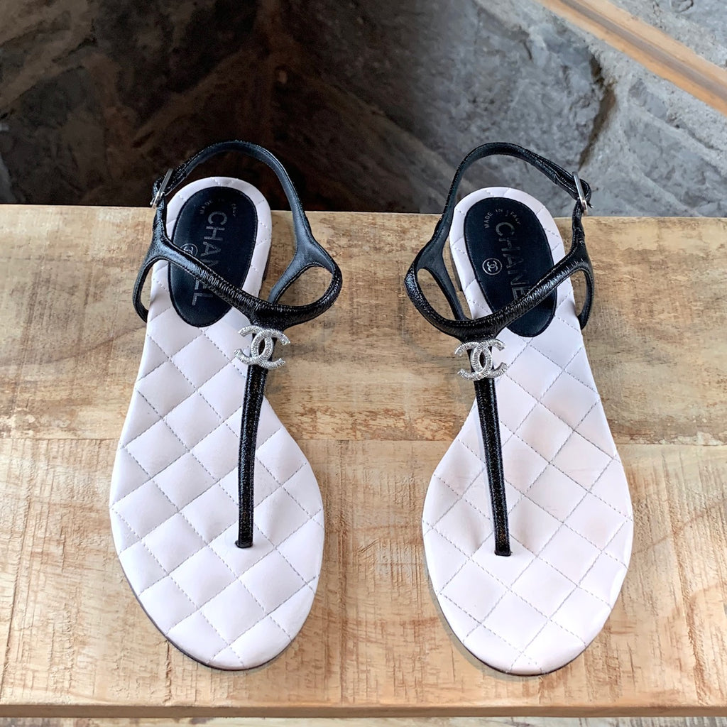 Chanel Black Quilted Leather CC Thong Sandals