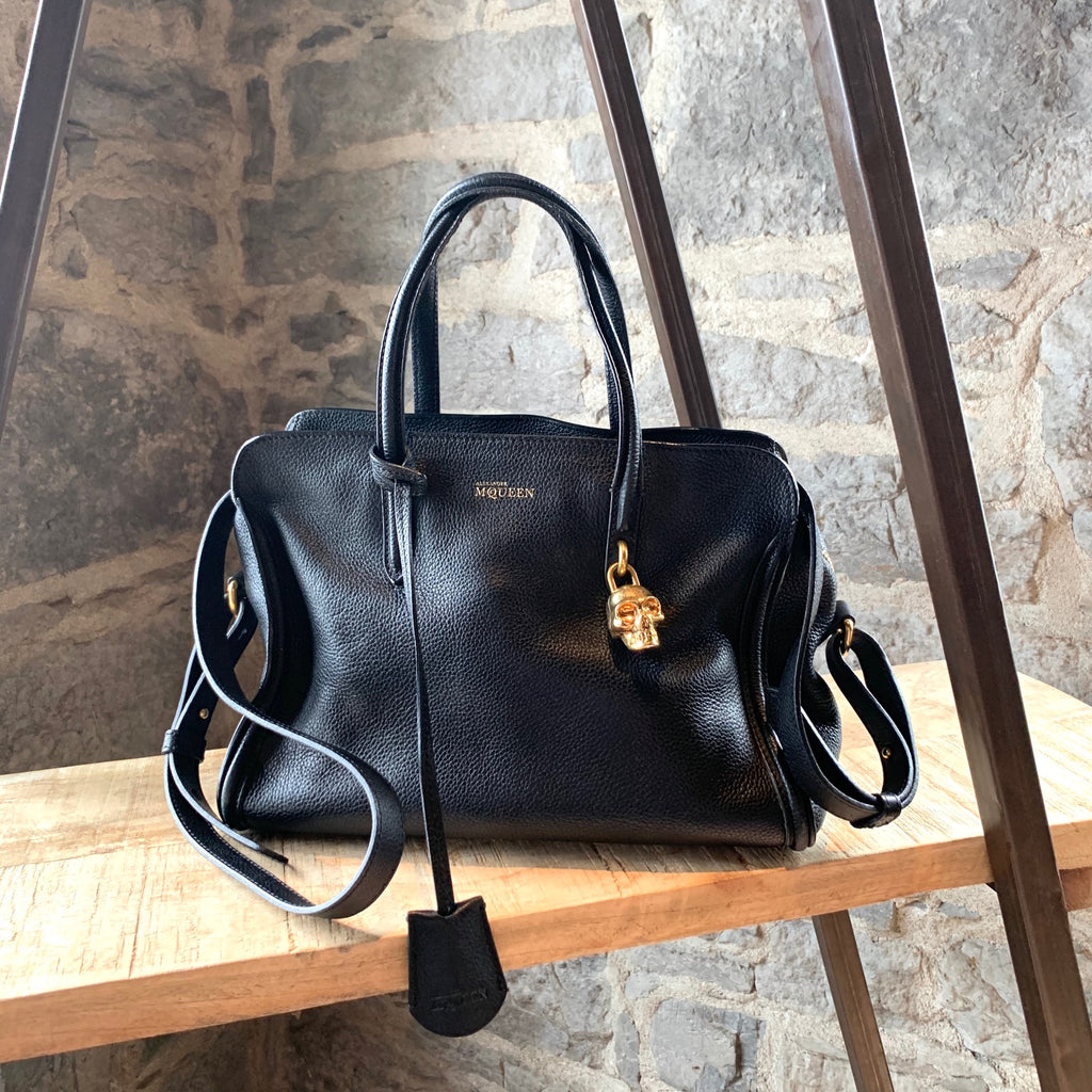 Alexander Mcqueen Small Black Pebbled Leather Padlock Satchel Bag