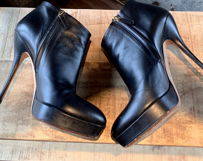 Gucci Black Leather Platform Ankle Booties