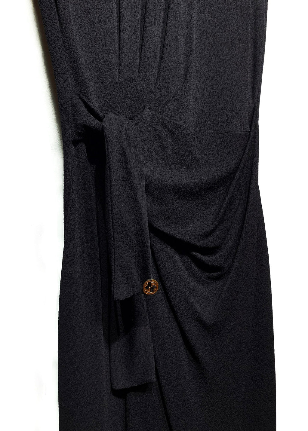 Gucci Black Crepe Tie Short Sleeves Dress