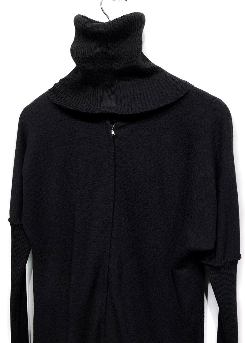 Dolce & Gabbana Black Turtleneck Long Sleeves Knit Pocketed Dress