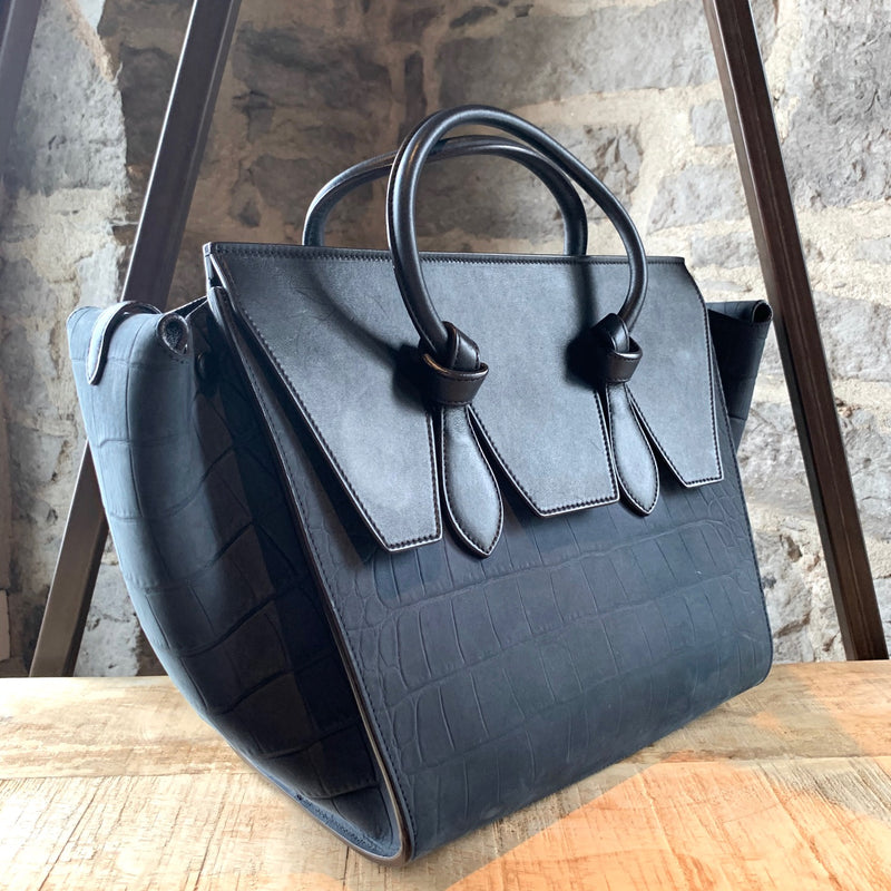 Céline Midnight Blue Croc Embossed Nubuck Small Tie Tote Bag