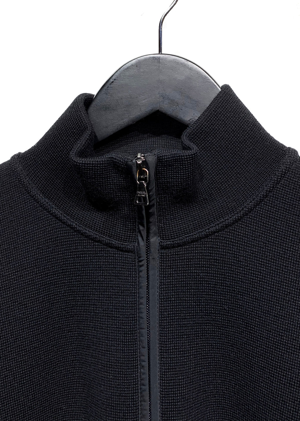 Prada Linea Rossa Black Wool Nylon Elbow Zip-up Sweater