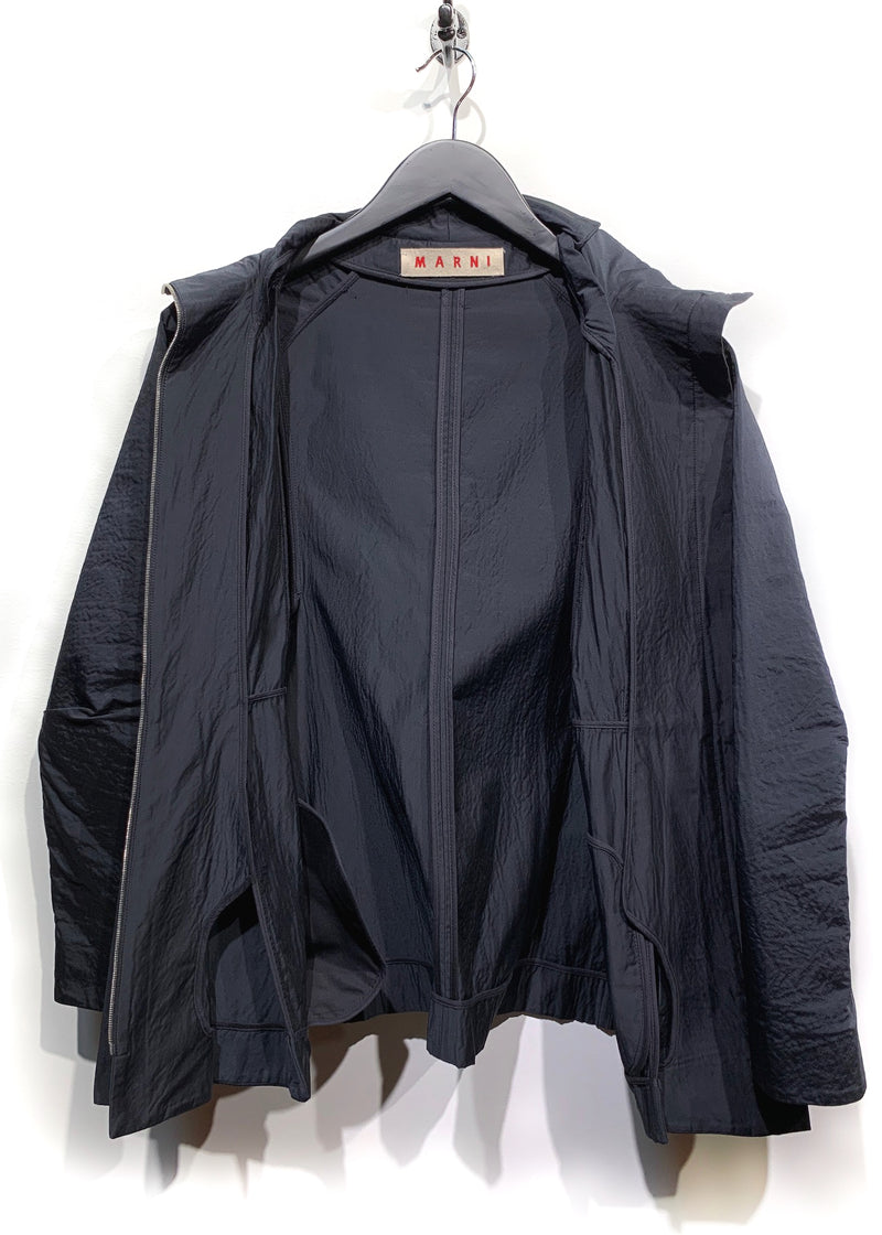 Marni Blue Black Silk Blend Zip-up Light Jacket
