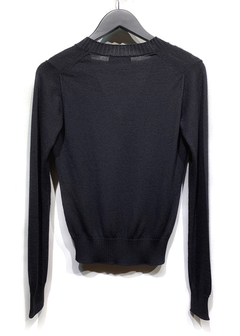 Dolce Gabbana Black V-Neck Cashmere Sweater