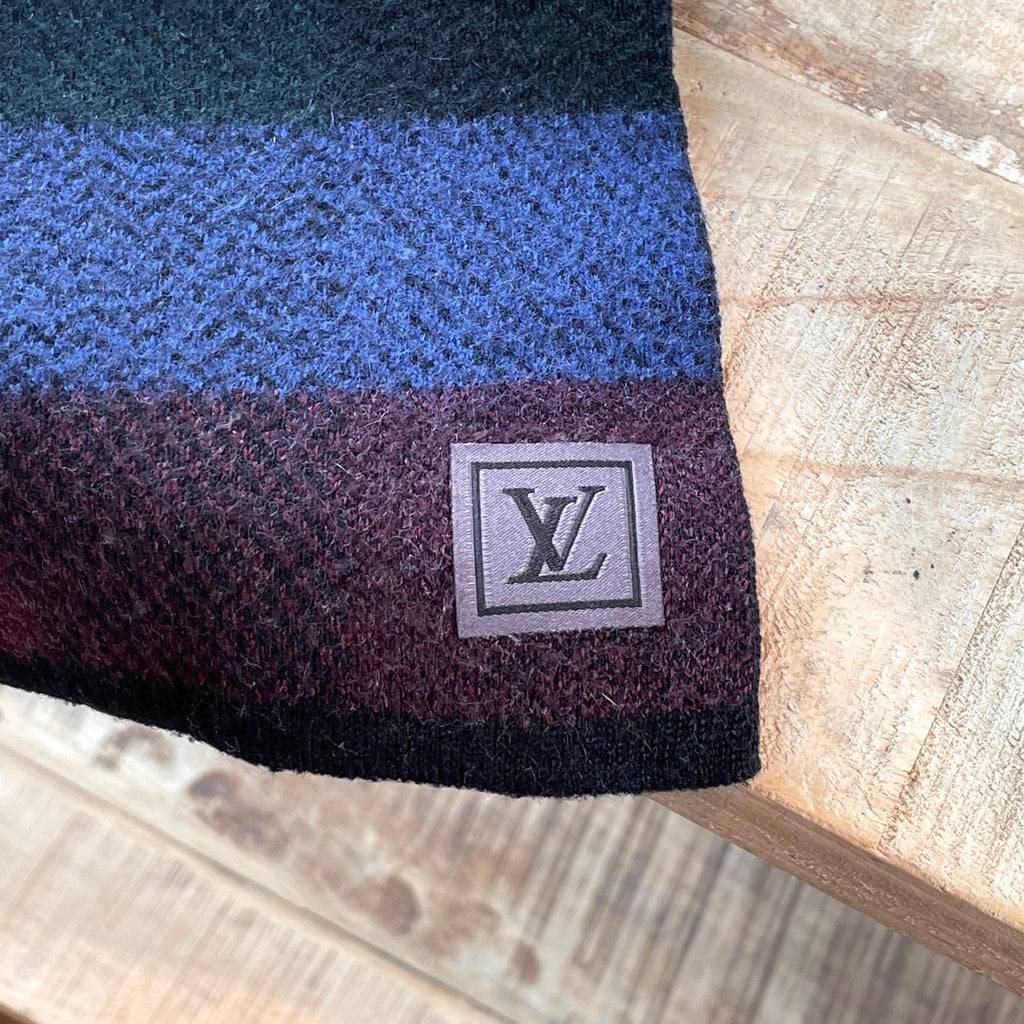 Louis Vuitton Green Blue Burgundy Patterned Wool Scarf
