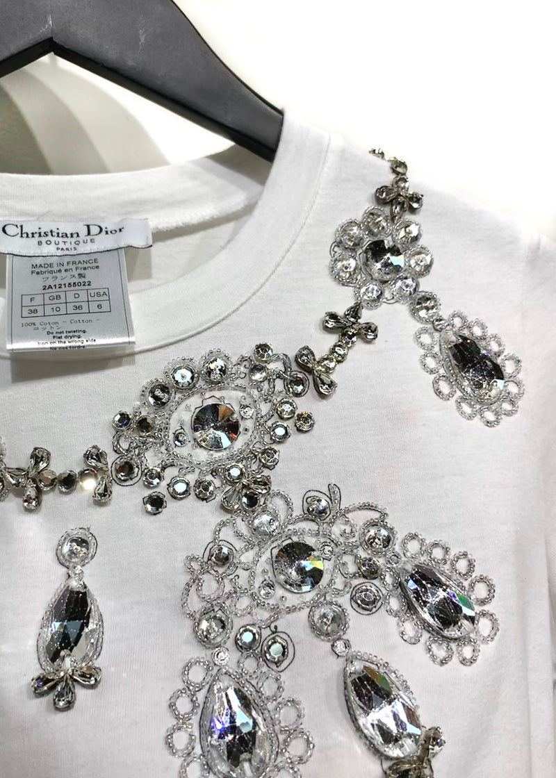 Christian Dior Crystal Embellished White Short Sleeves T-shirt