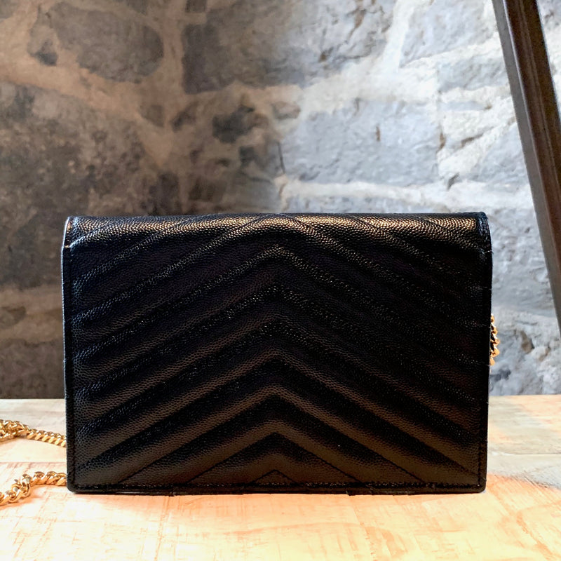 Saint Laurent Black Grain De Poudre Leather Enveloppe Chain Wallet Bag