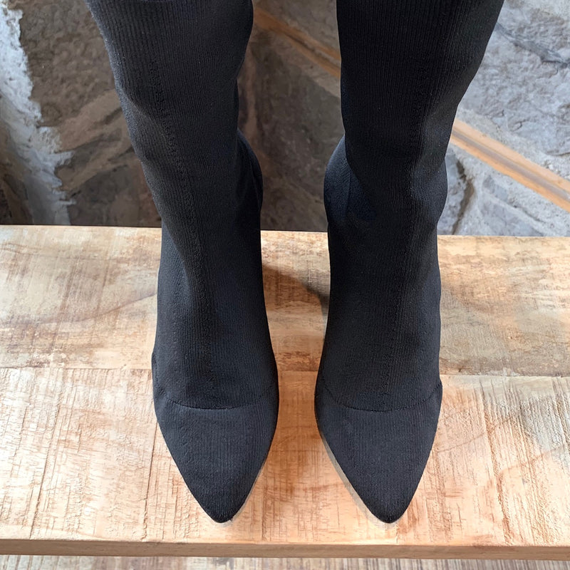 YEEZY Season 4 Black Stock Heels Pointy Sock Boots