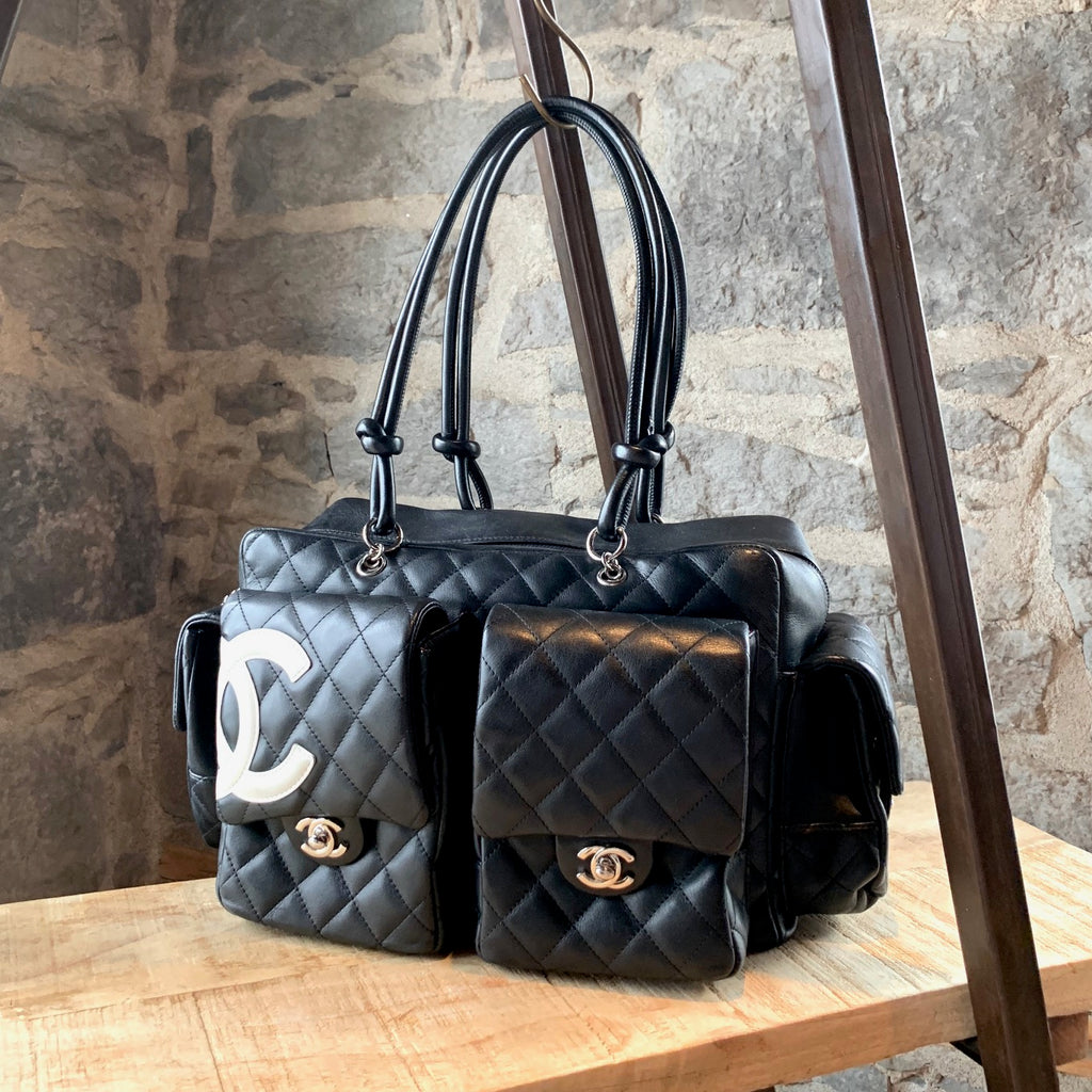 Chanel Black Ligne Cambon Multi Pocketed Quilted Reporter Bag