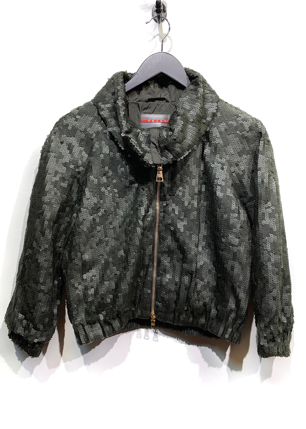Prada Linea Rossa Green Sequined Cropped Sleeves Zip Jacket
