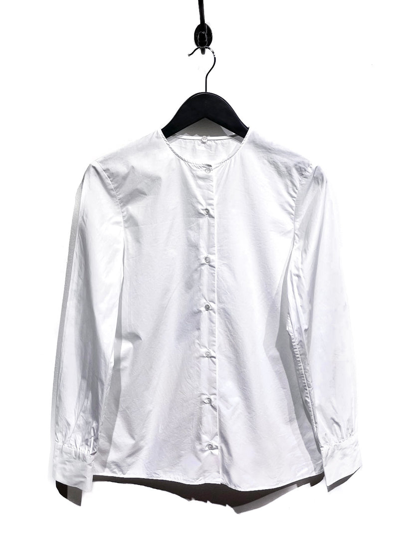 Miu Miu White Shirt with Black Blue Sequins Embellished Collar