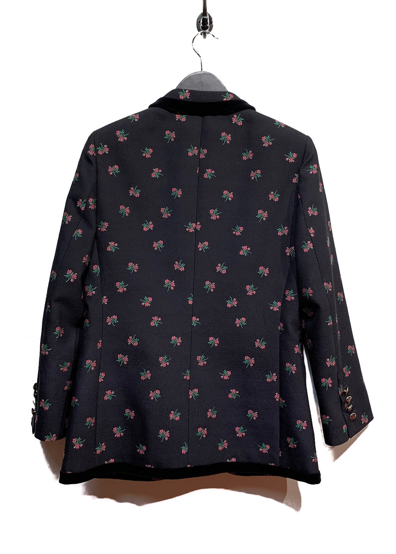 Gucci Navy Floral Embroideries Velvet Trims Blazer