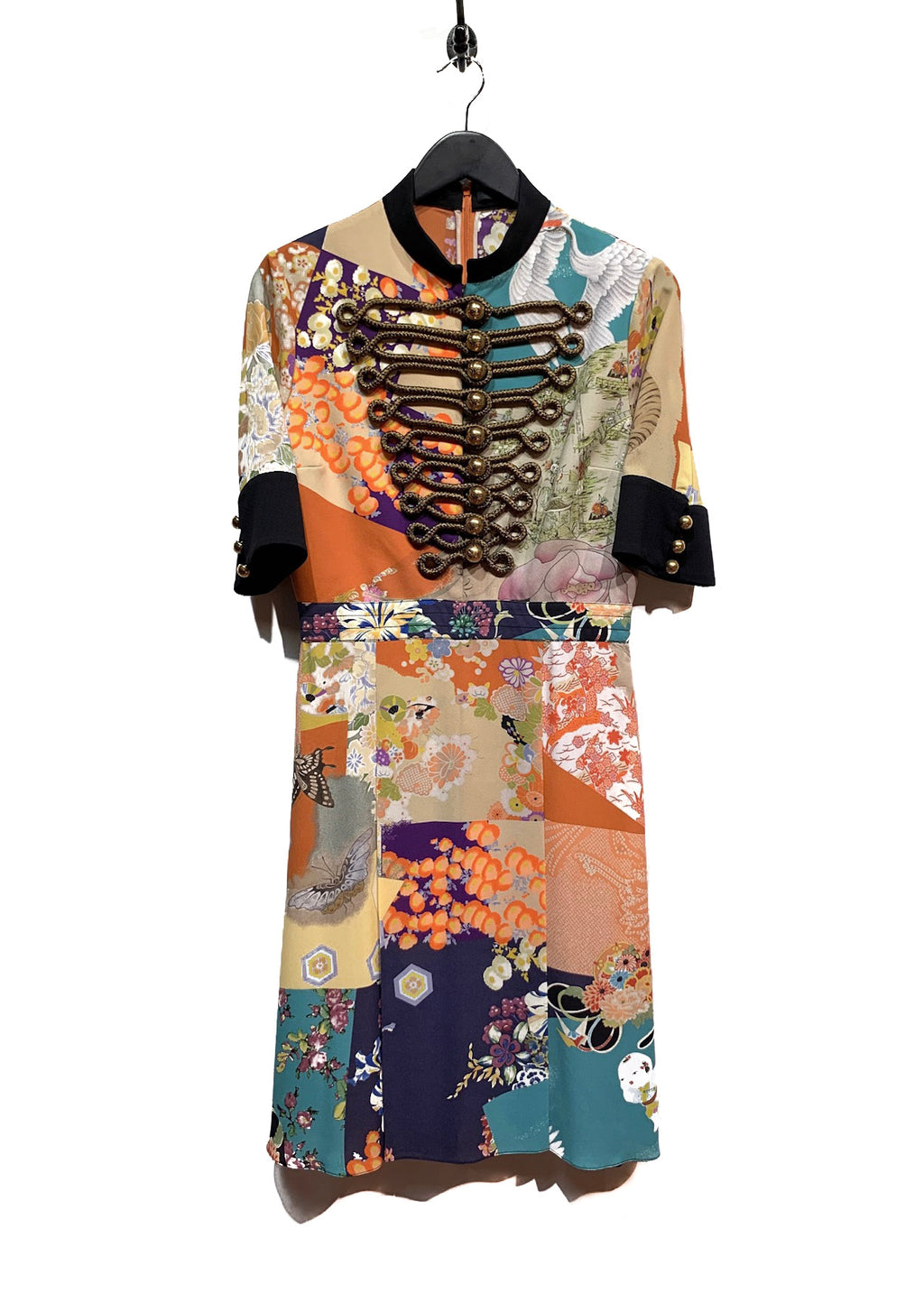 Gucci Runway Japanese Silk Floral Patchworks Dress