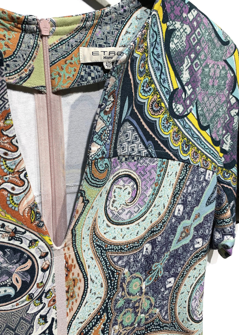 Etro Blue Green Multicolour Paisley Print Stretch Short Sleeves Dress