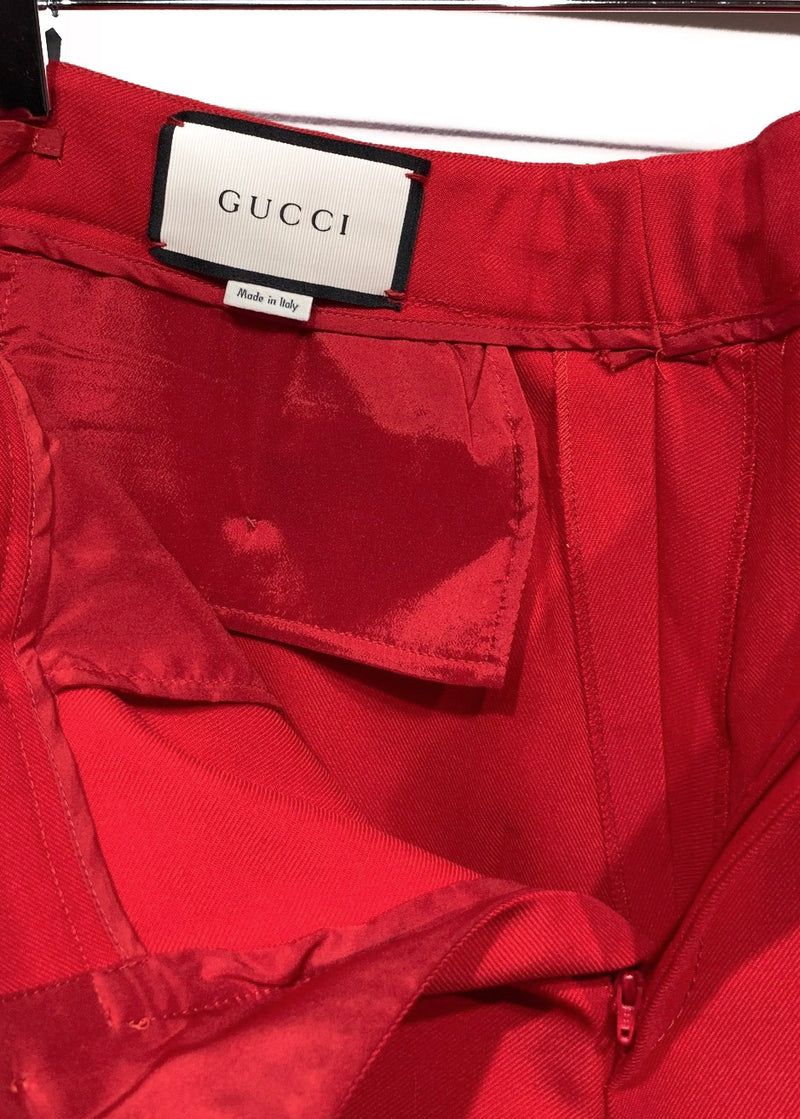 Gucci SS17 Red Wool Cropped Trouser with Tiger Embroidered