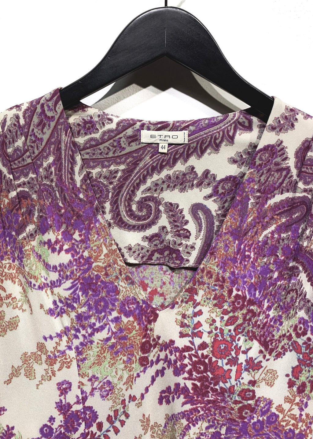 Etro Purple Paisley Flower Printed Stretch 3/4 Sleeves Dress