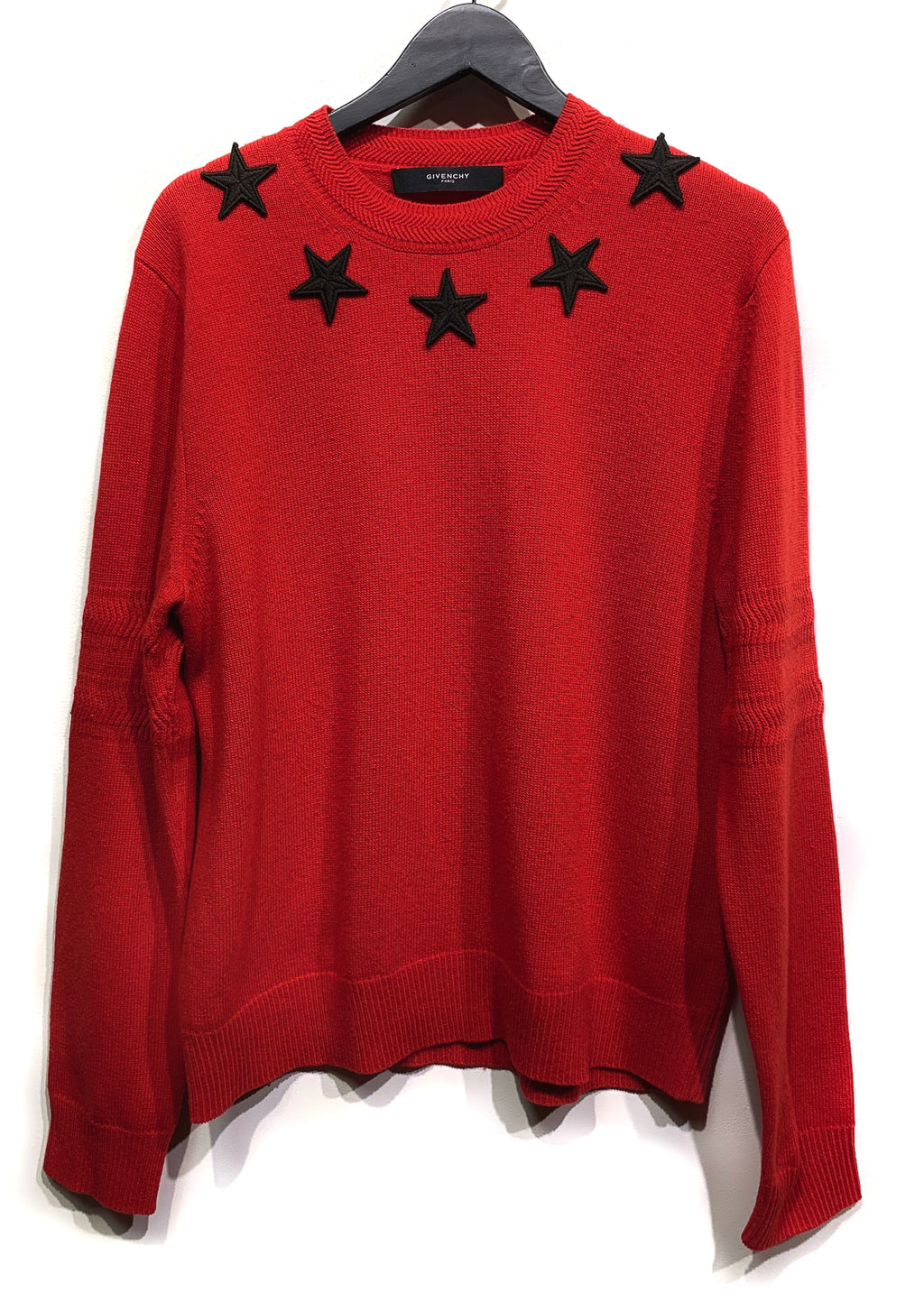 Givenchy Red Wool Crewneck Sweater with Black Star Appliqués