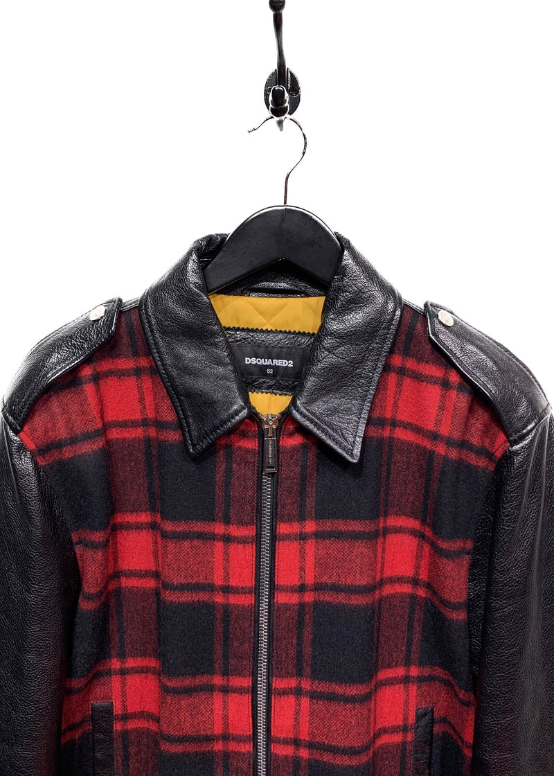 Dsquared2 Black Leather Red Plaid Combo Jacket